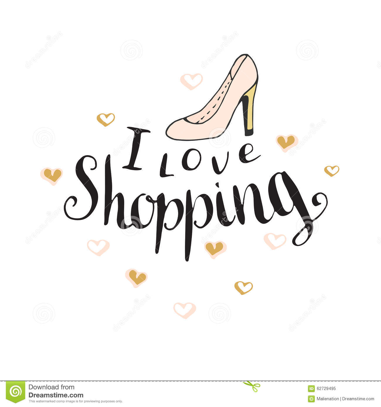 I Love Shopping Fashion Quote For Blog Design Vector