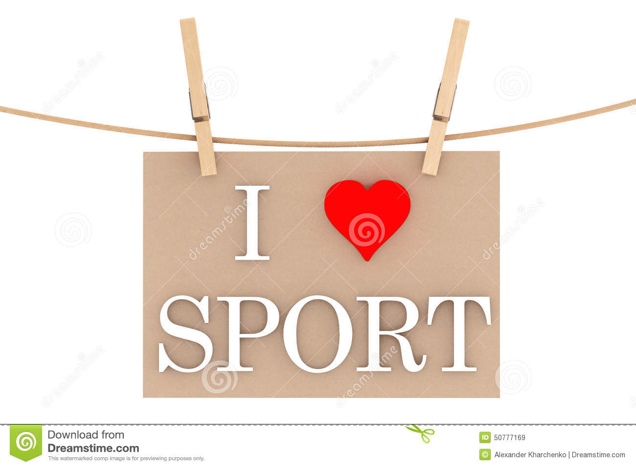 Love Sport with heart hanging with clothespins on a white background ...