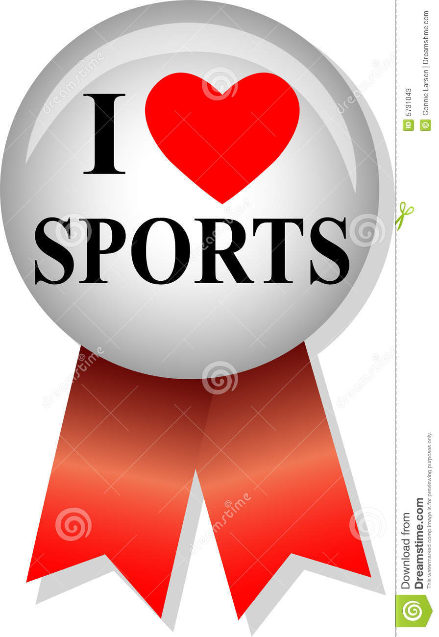 Illustration of a button and ribbon with the message I Love Sports.