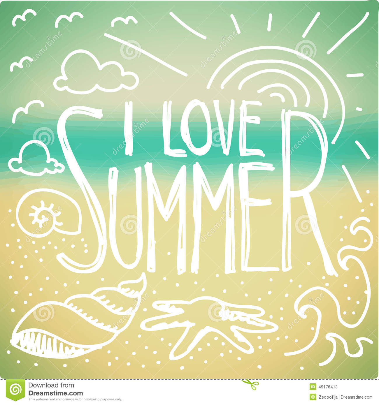 Stock Illustration I Love Summer Doodle Quote Blurred Seaside Backgrou...