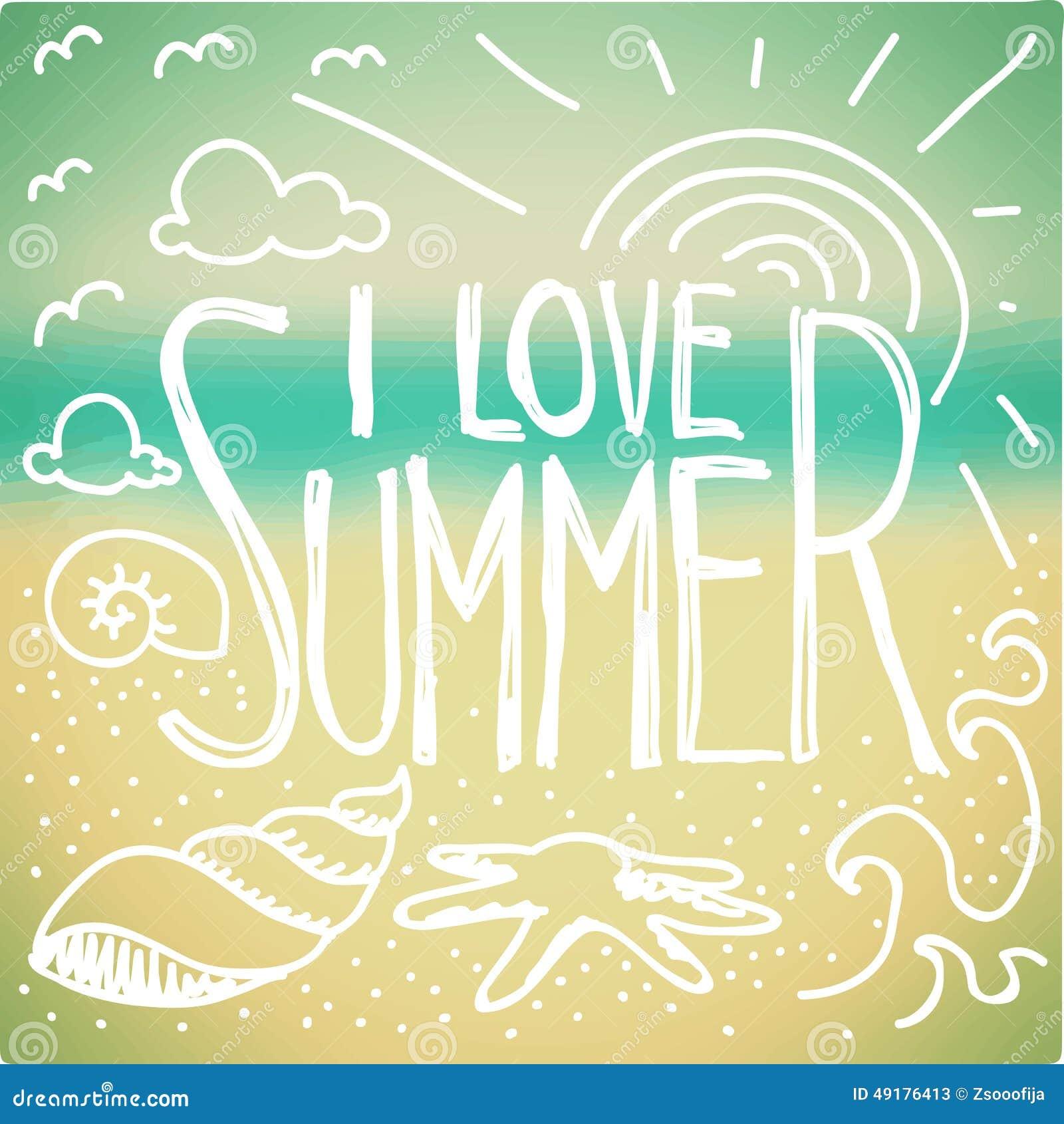 Stock Illustration I Love Summer Doodle Quote Blurred Seaside Backgrou...