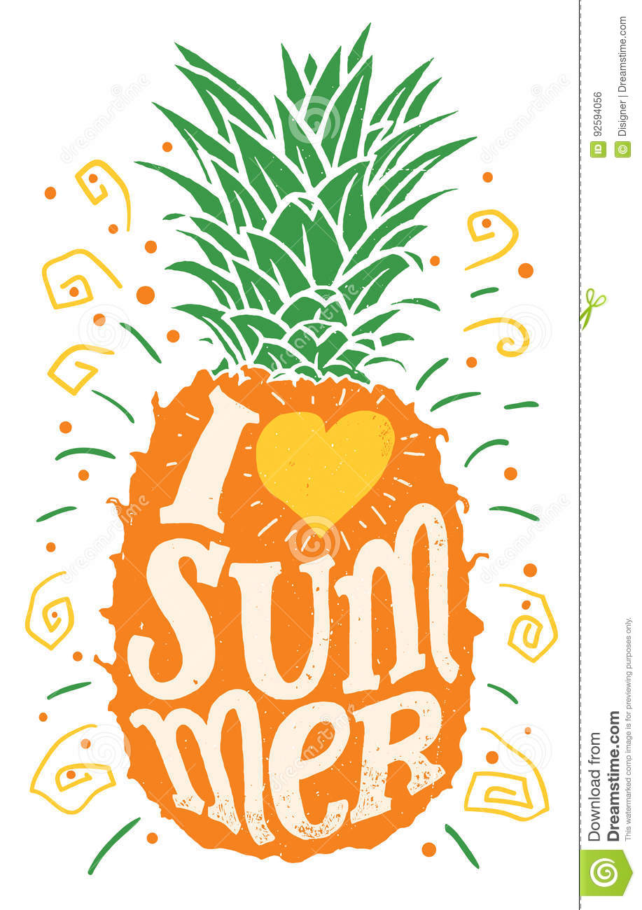 I love summer hand drawing typography illustration