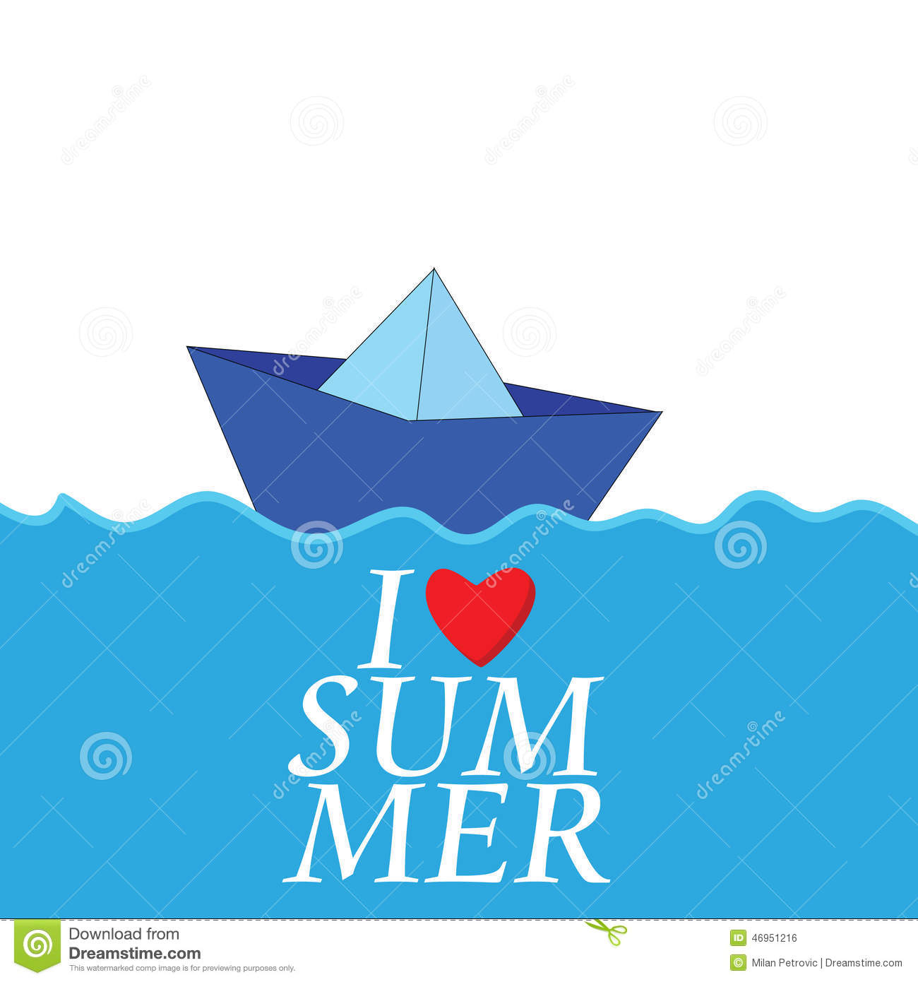 I Love Summer With Paper Boat Color Vector Illustration 46951216 ...