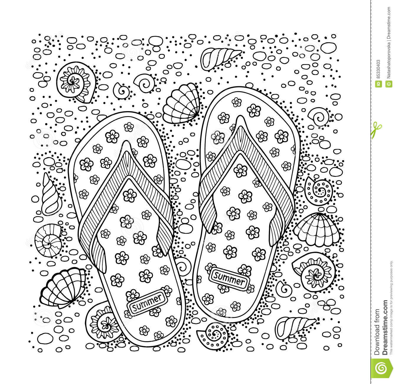 Sea Beach Slippers Sand And Shell Hand Drawn Flip