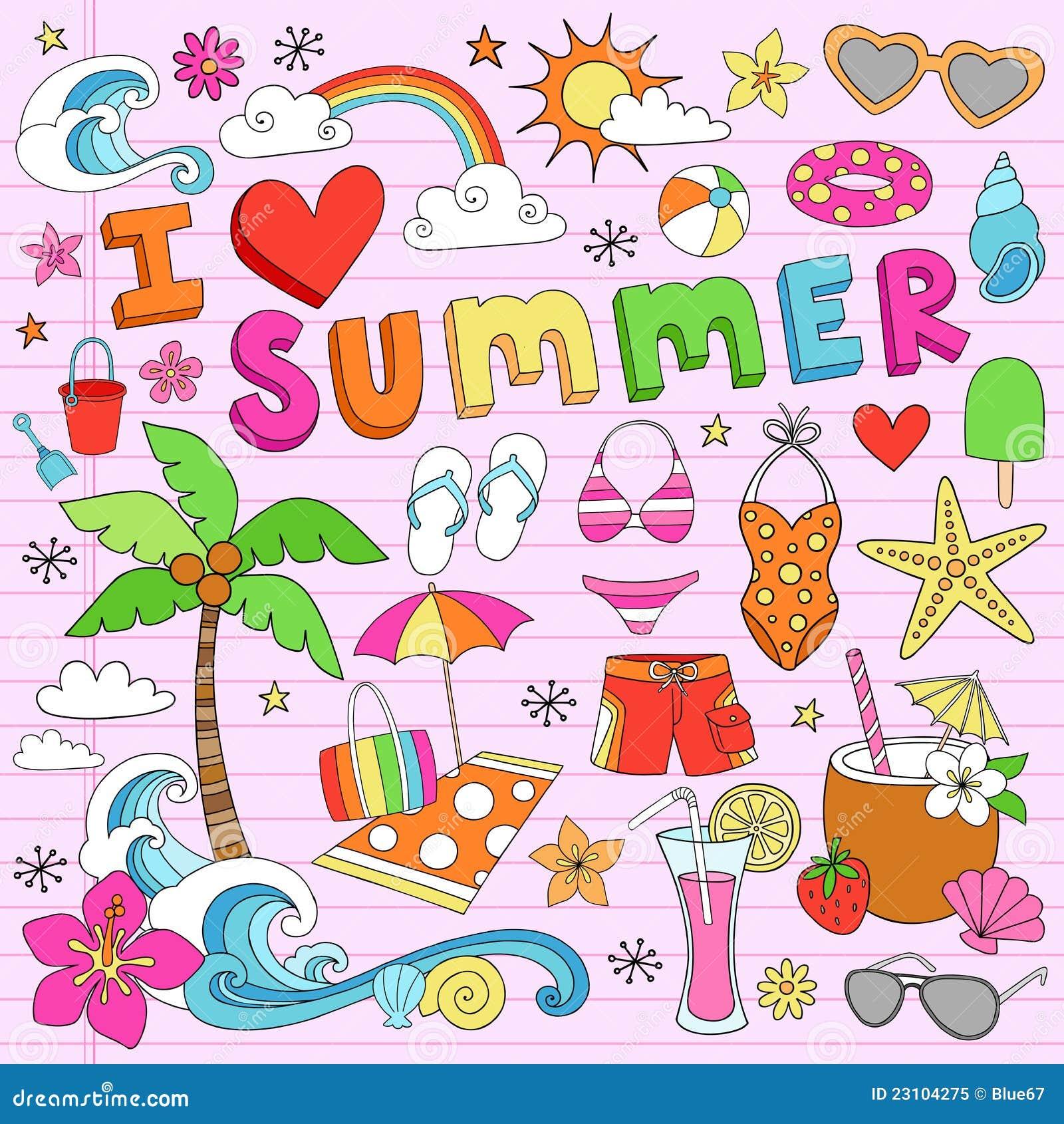 Love Summer Psychedelic Groovy Notebook Doodle Design Elements Set ...