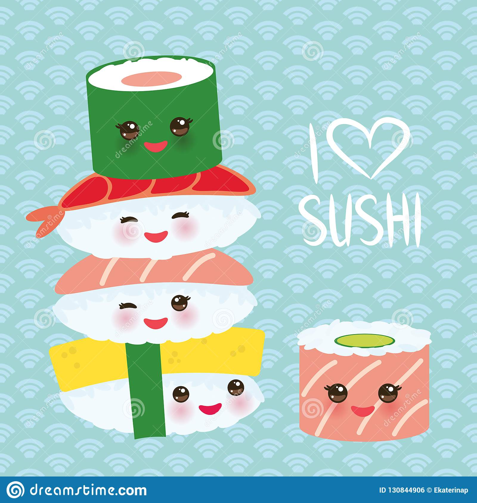 I love sushi. Kawaii funny sushi set with pink cheeks and big eyes, emoji. Blue background with japanese circle pattern. Vector