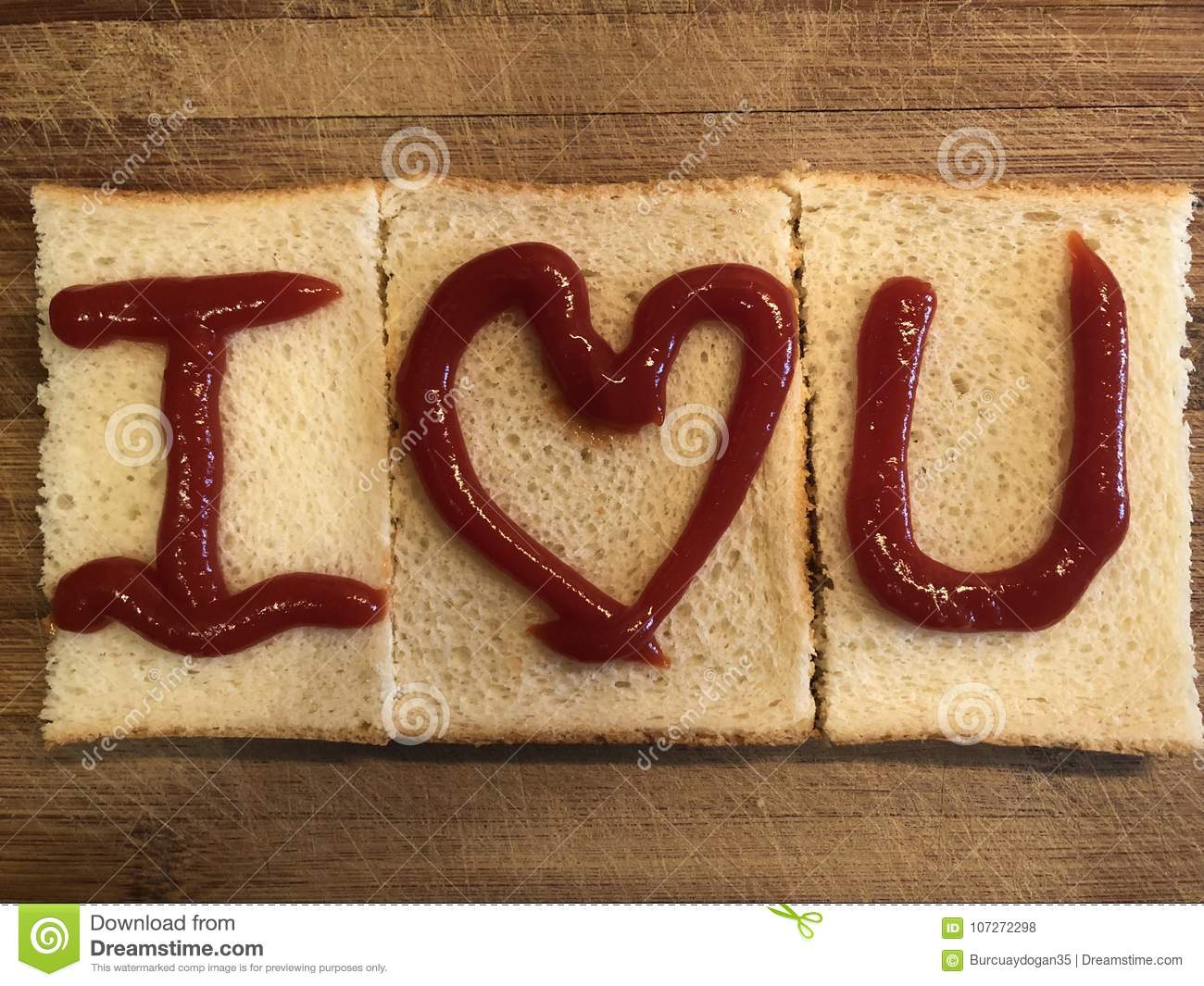 I Love U By Bread On The Wooden Cutting Board Stock Photo Image