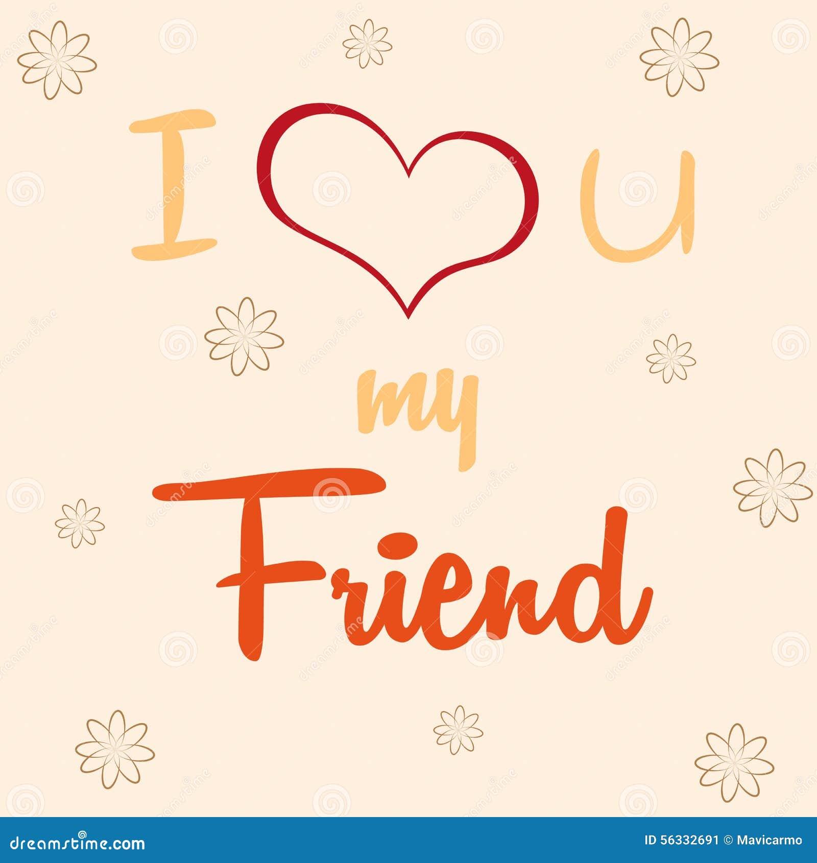 I Love U My Friend Template Design Stock Illustration Illustration
