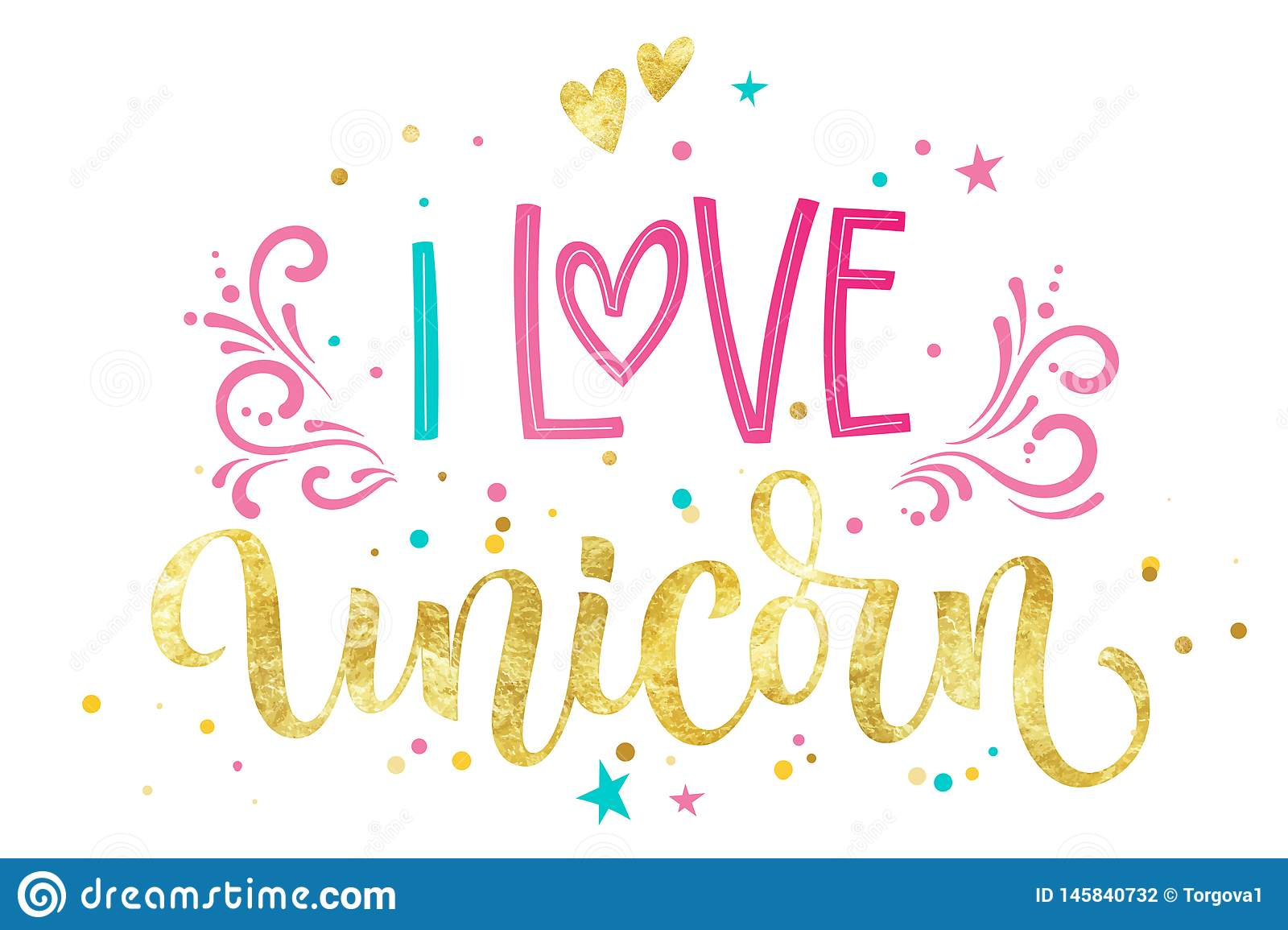 I Love Unicorn Hand Drawn Isolated Colorful Gold Foil