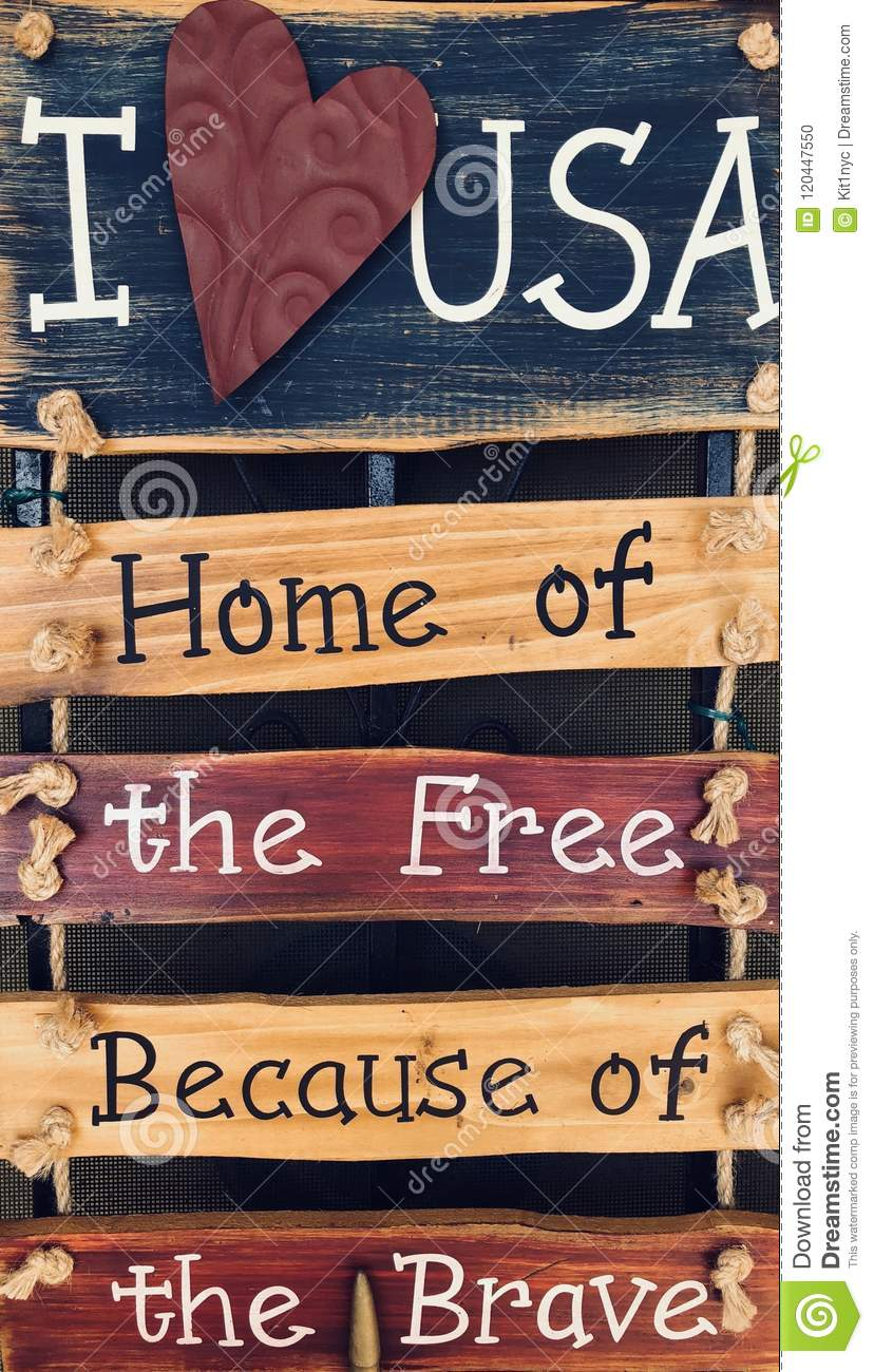 I Love USA Home Of The Free Stock Photo - Image of four