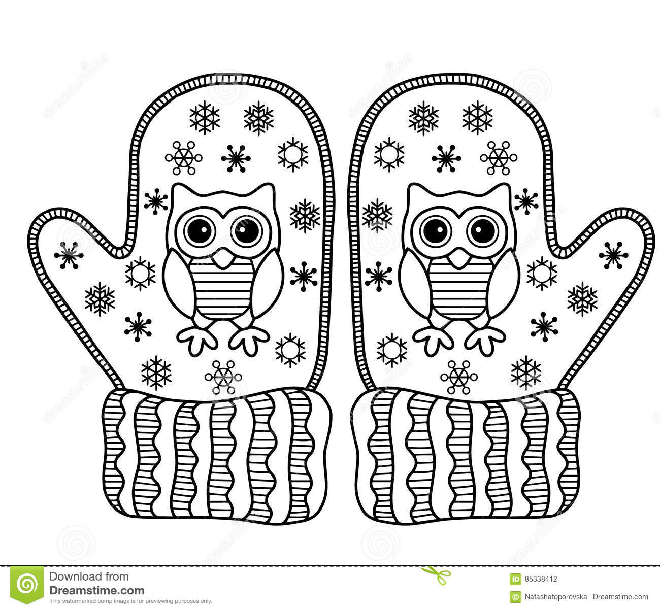 I Love Winter Funny Vector Mittens Vector Coloring Page Stock Vector Illustration Of Fashion Collection 85338412