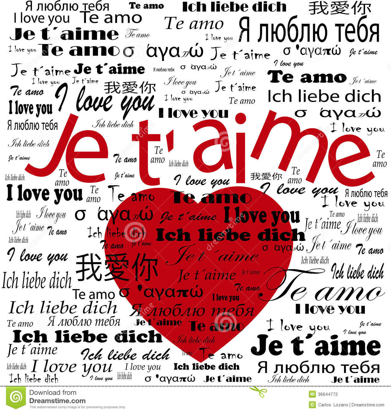 I love you in other languages written