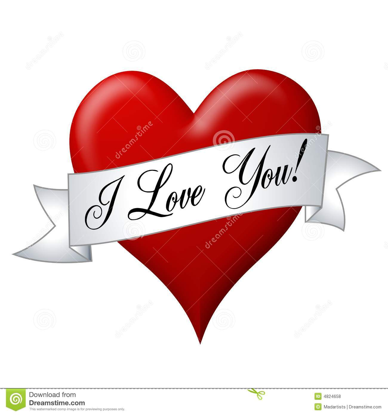 i love you banner with heart stock illustration illustration of