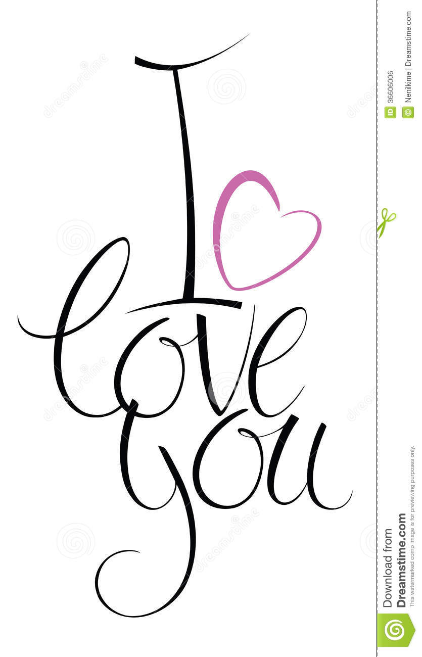 I love you calligraphy card royalty free stock image I love you calligraphy