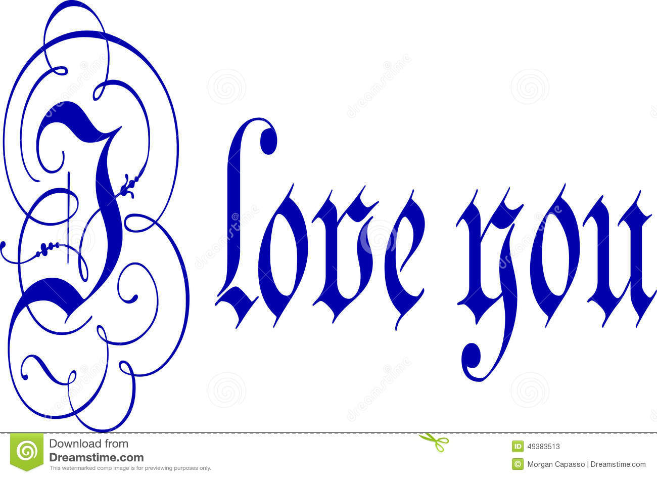 I love you calligraphy pen and ink stock photo image