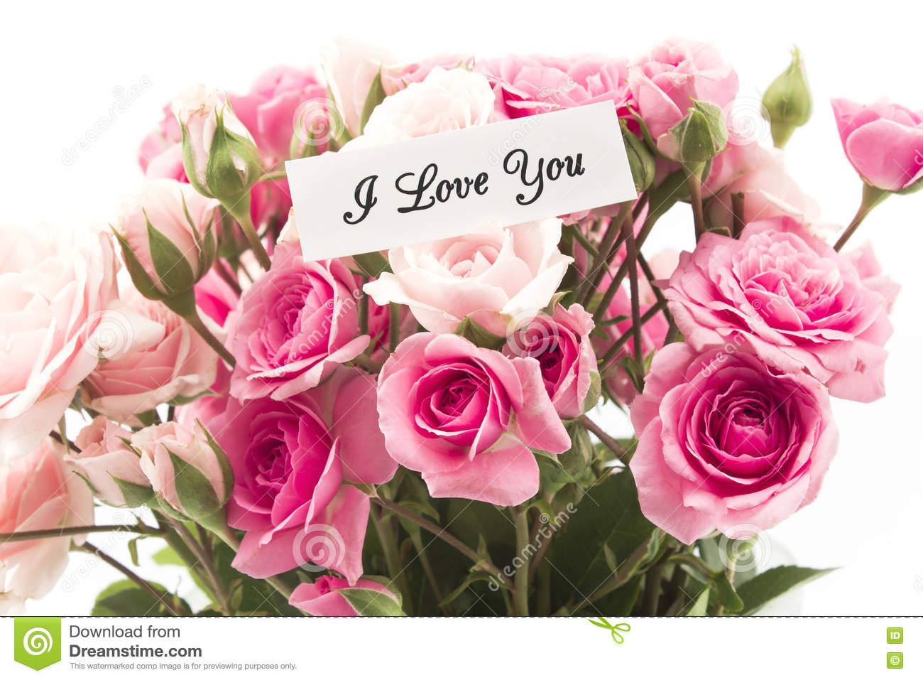 i love you card with bouquet of pink roses stock image image 74565555. Black Bedroom Furniture Sets. Home Design Ideas