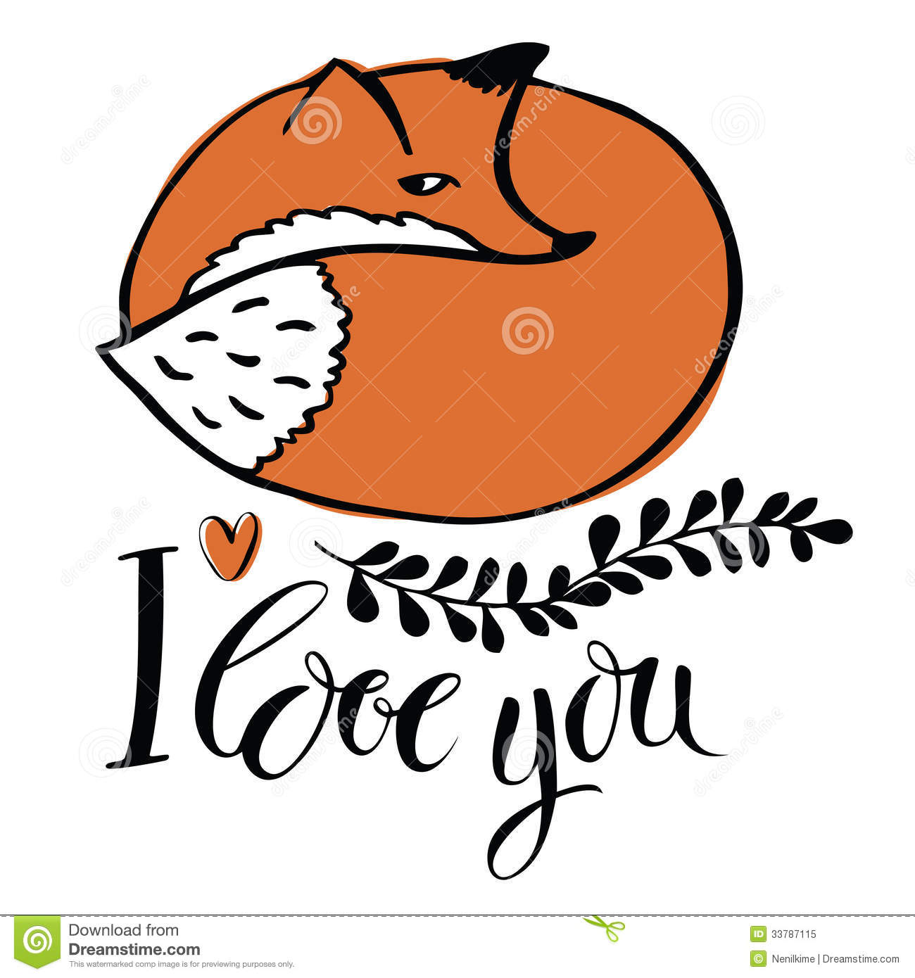 Love You. Card With The Fox Royalty Free Stock Photo - Image ...: dreamstime.com/royalty-free-stock-photo-i-love-you-card-fox-red...