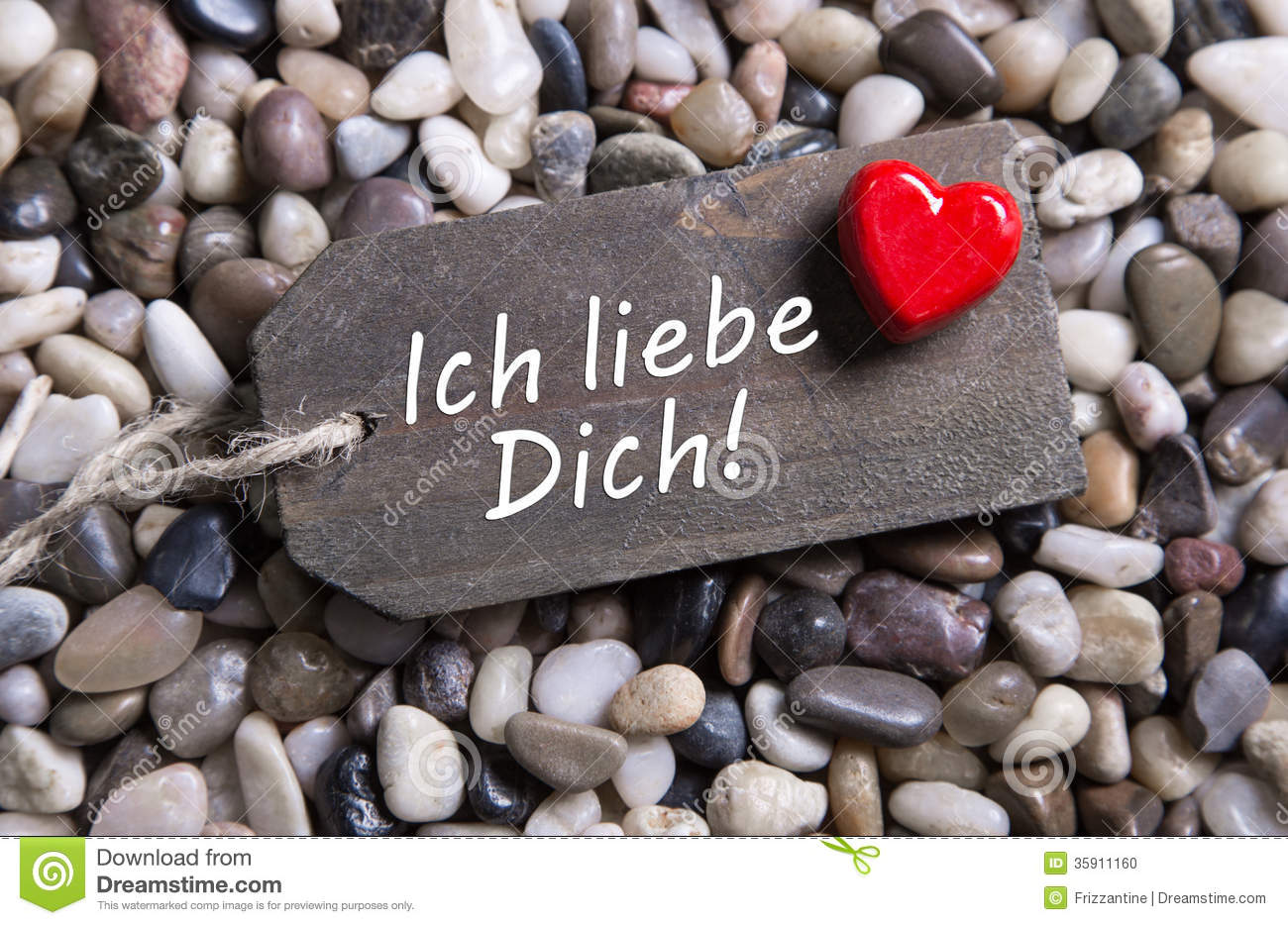 I Love You Card With German Text And A Red Heart On A
