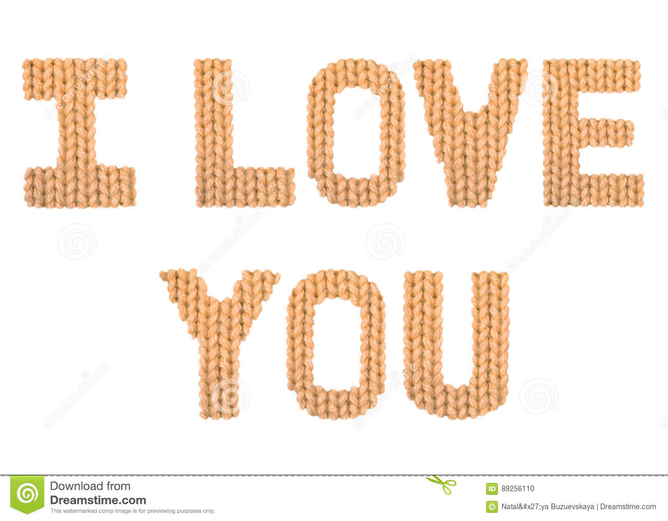 I Love You Word On A Blurry Texture Knitted Pattern Of Woolen Thread Closeup English Alphabet Typography Design Color Orange