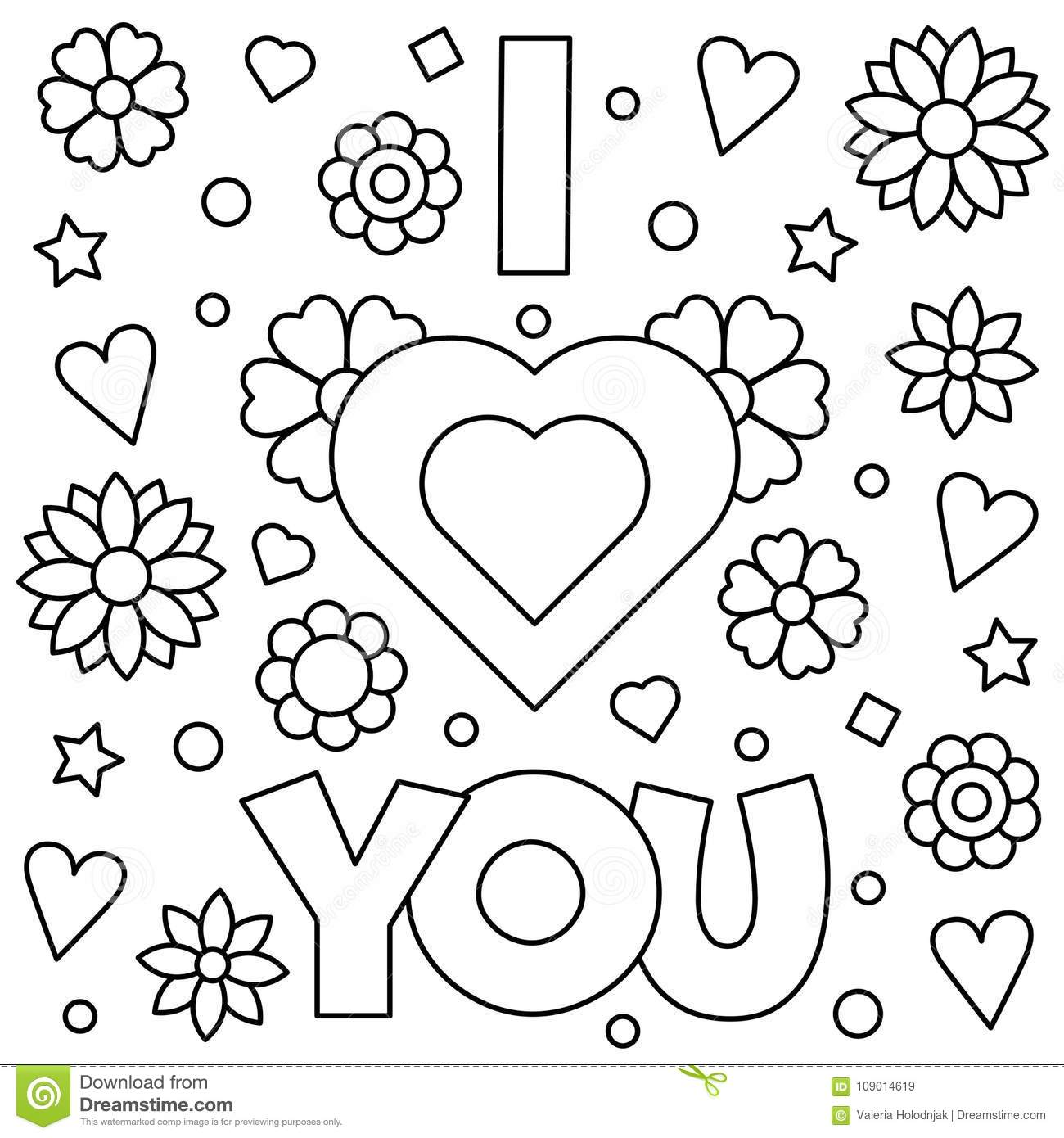 I Love You. Coloring Page. Vector Illustration. Stock Vector ...