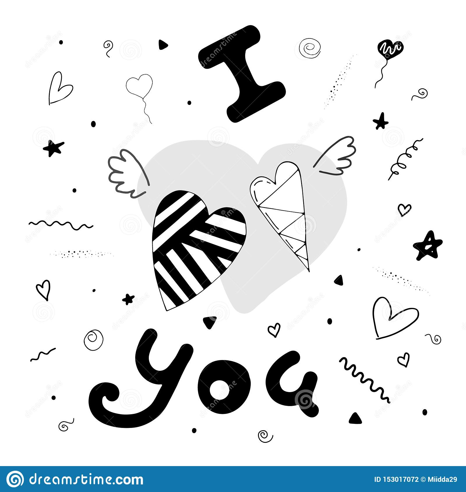I love you. Cute card with hearts, wings and cute elements.