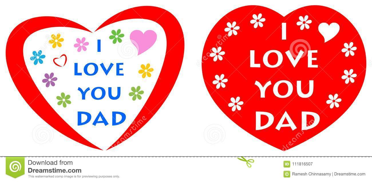 I Love You Dad Greeting Card With Red Heart Stock Vector