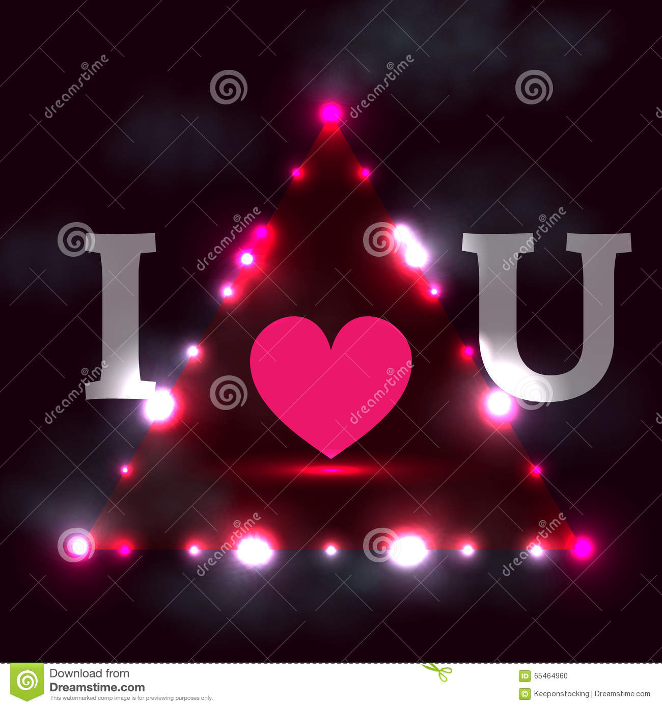 I Love You Dark Background With Shining Lights Stock