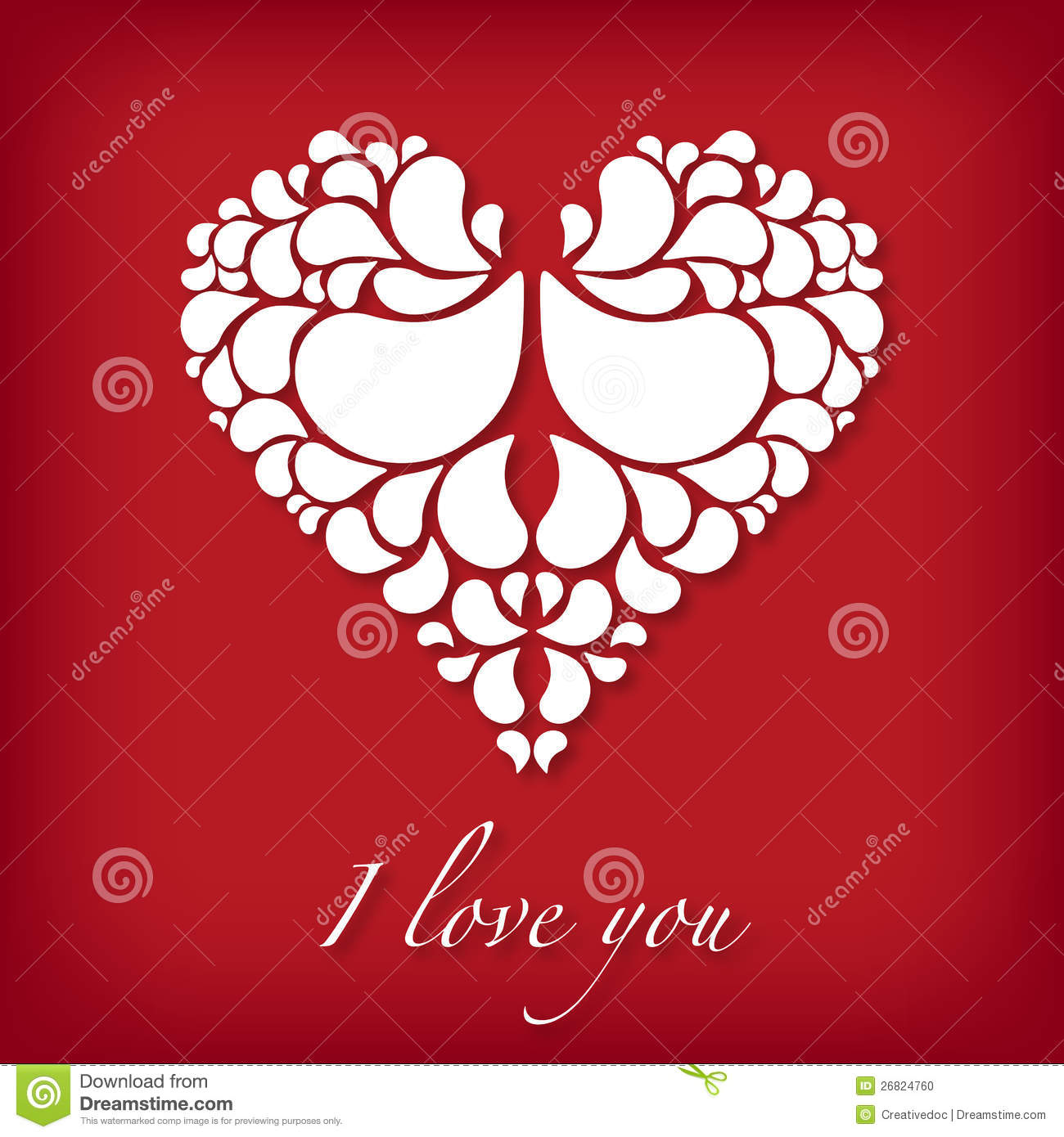 I love you design with abstract heart stock photo image for Love in design