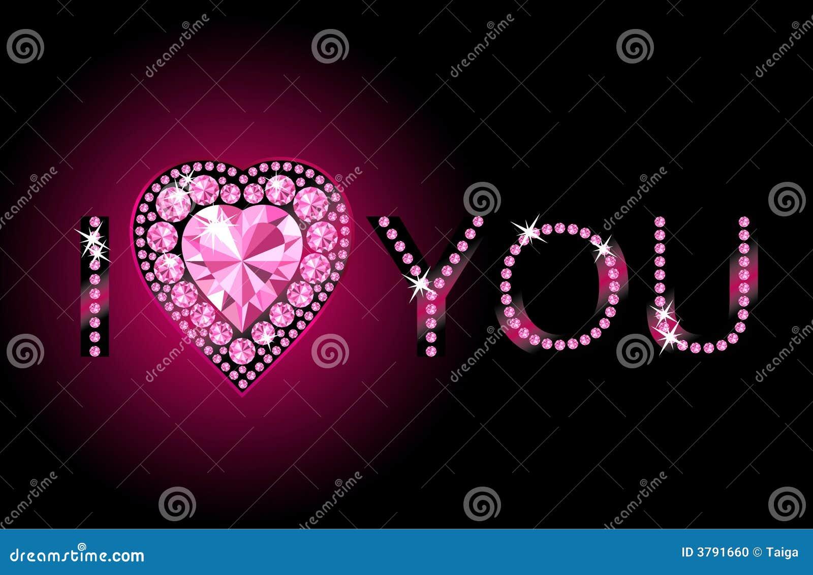 I Love You / Diamond heart / vector background