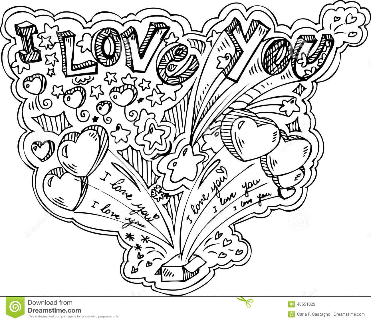 i love you doodle vector stock vector