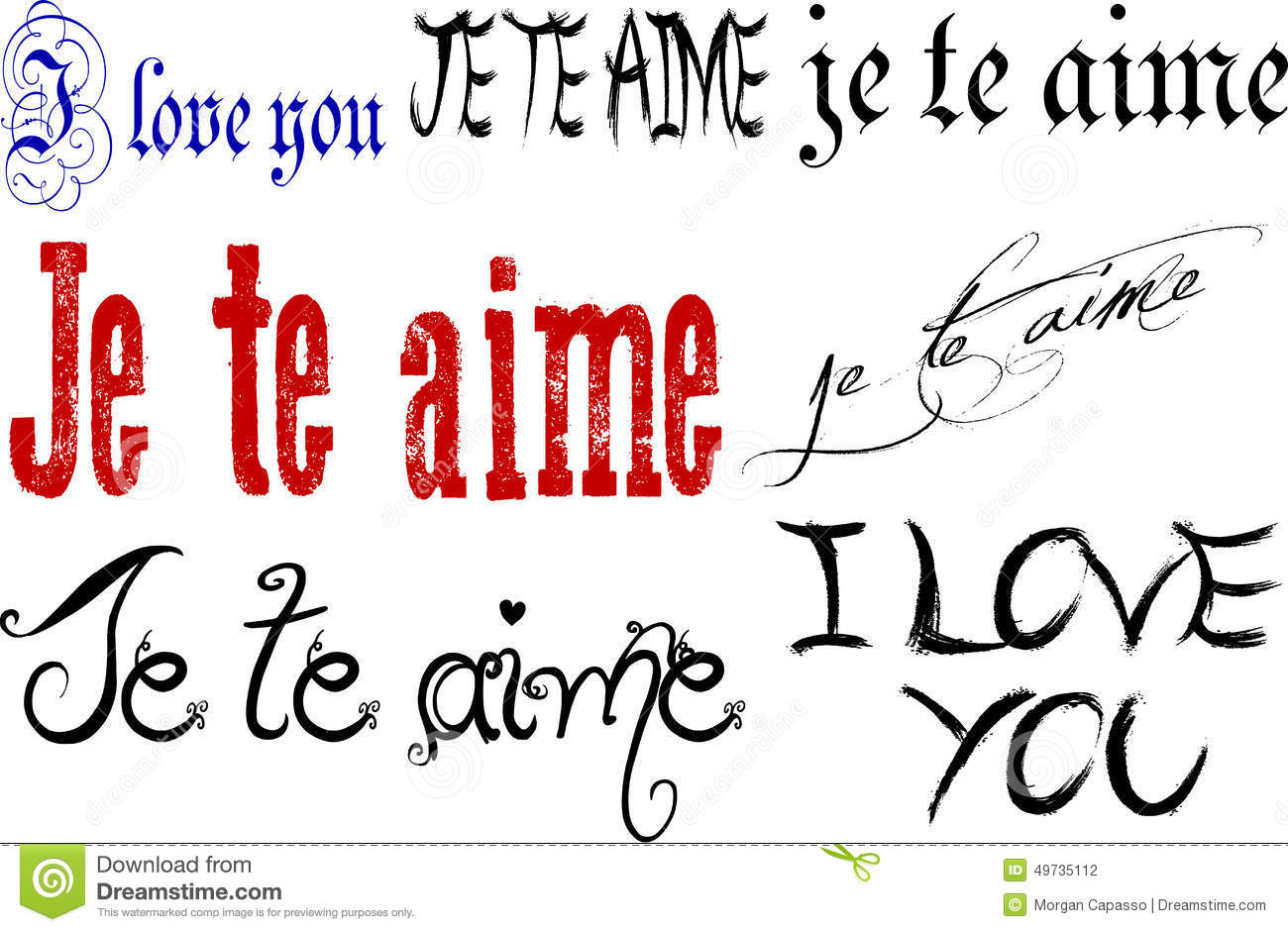 Download I Love You In English And French Stock Vector Il Ration Of Font Words