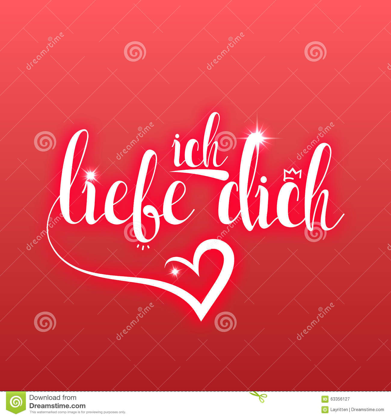 i love you in german greeting card  ich liebe dich stock vector