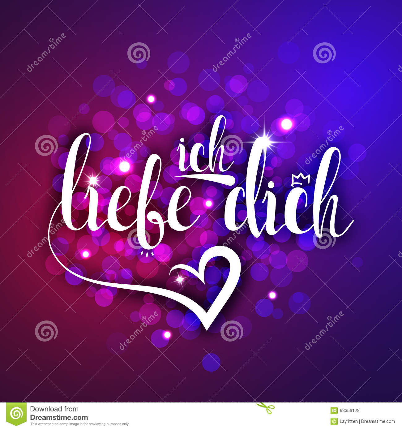 I Love You In German Greeting Card Ich Liebe Dich