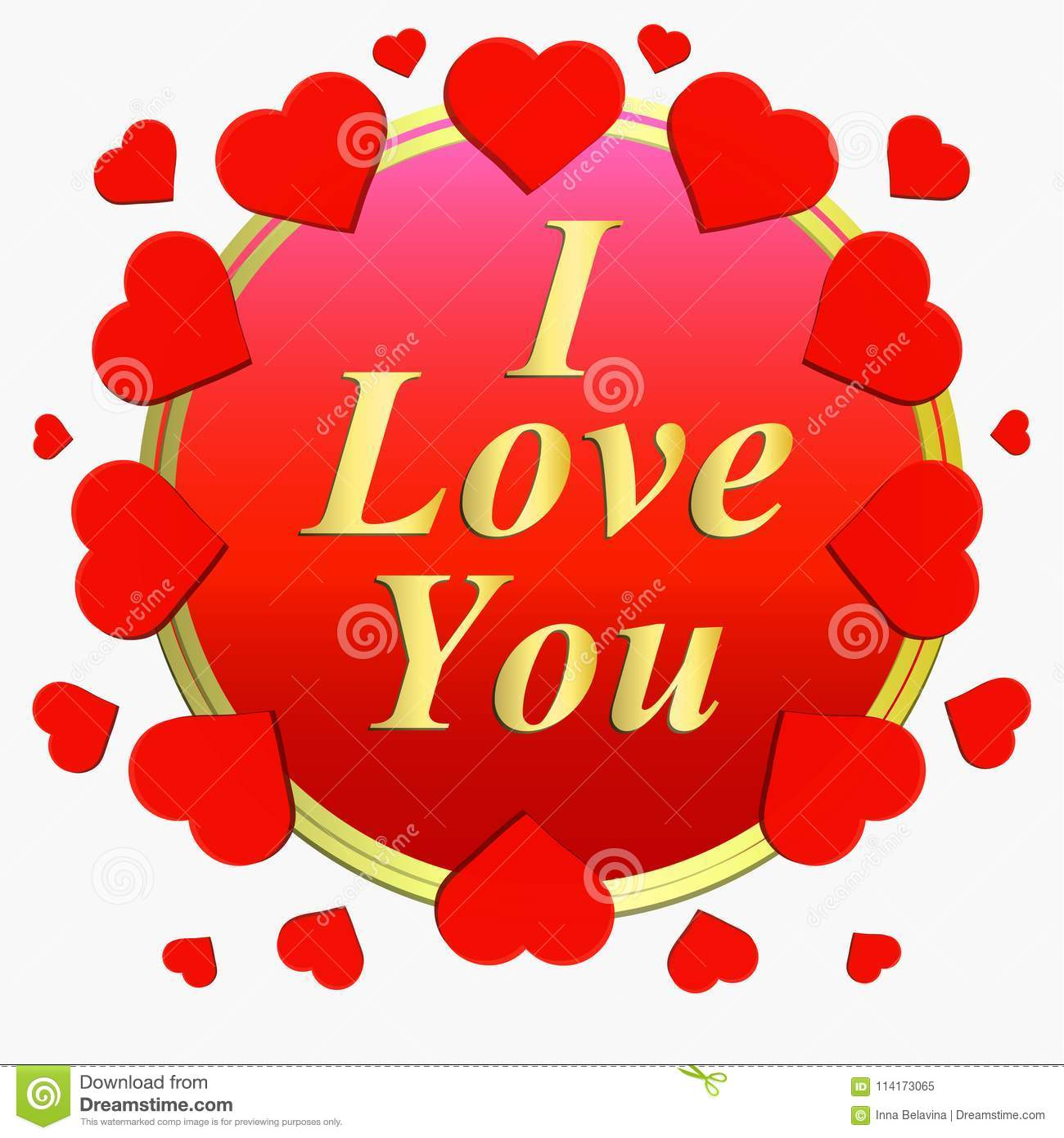 I Love You Greeting Card Brightly Colorful Illustration Typography