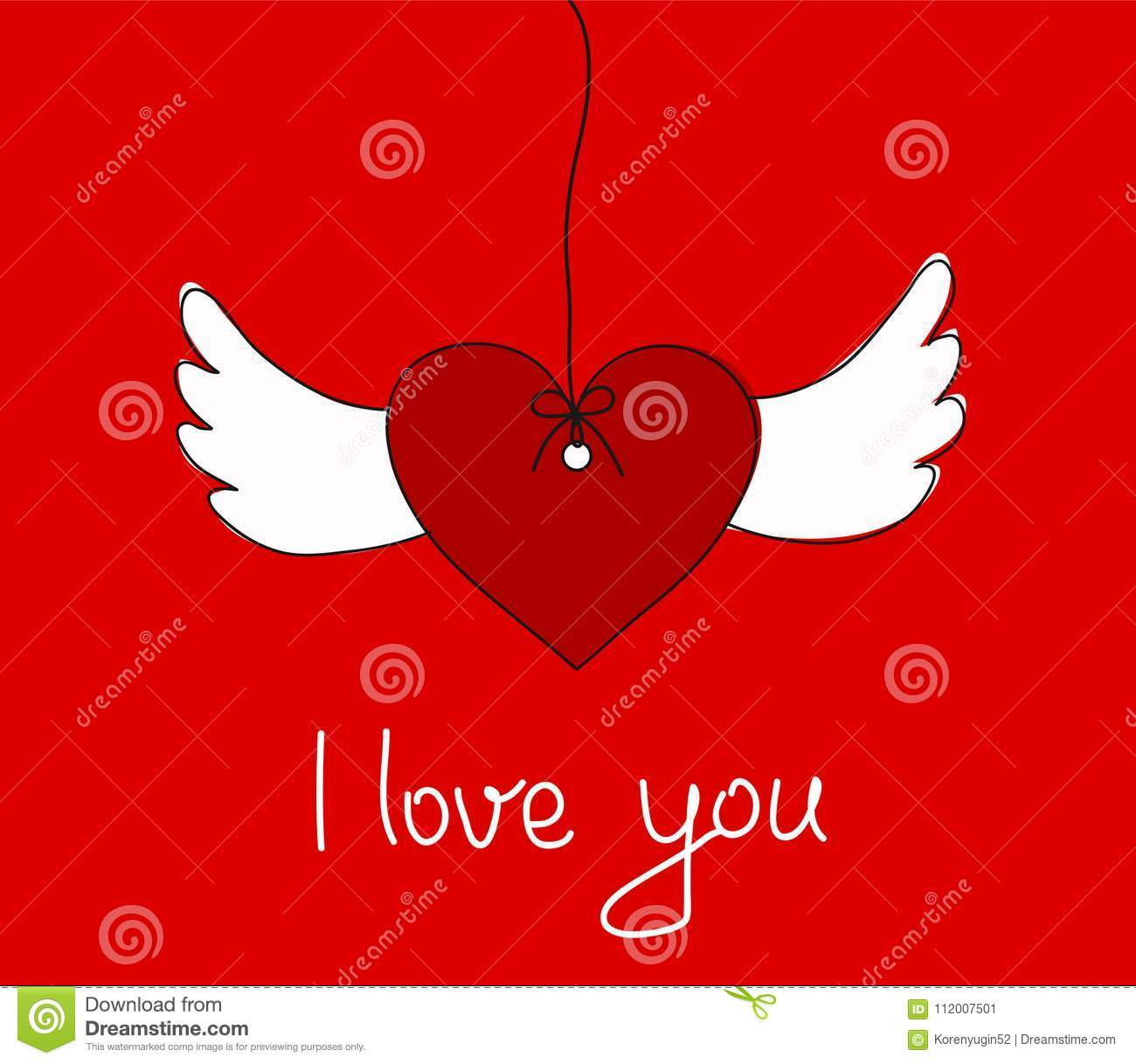 I Love You Greeting Card With Hanging Heart Wings Stock Vecto