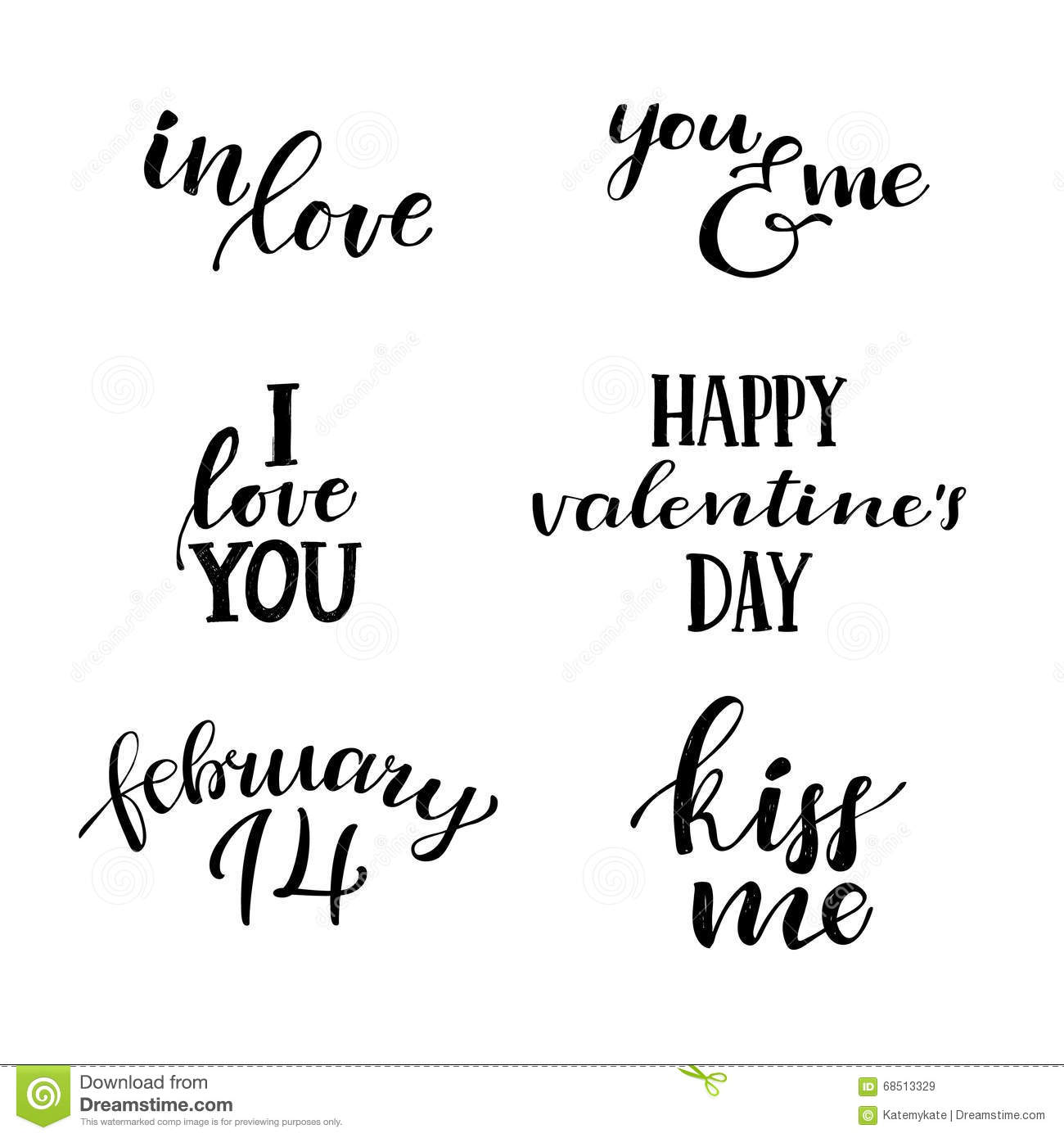 Quote On Love I Love Youhand Lettering Vintage Quotes About Lovestock Vector