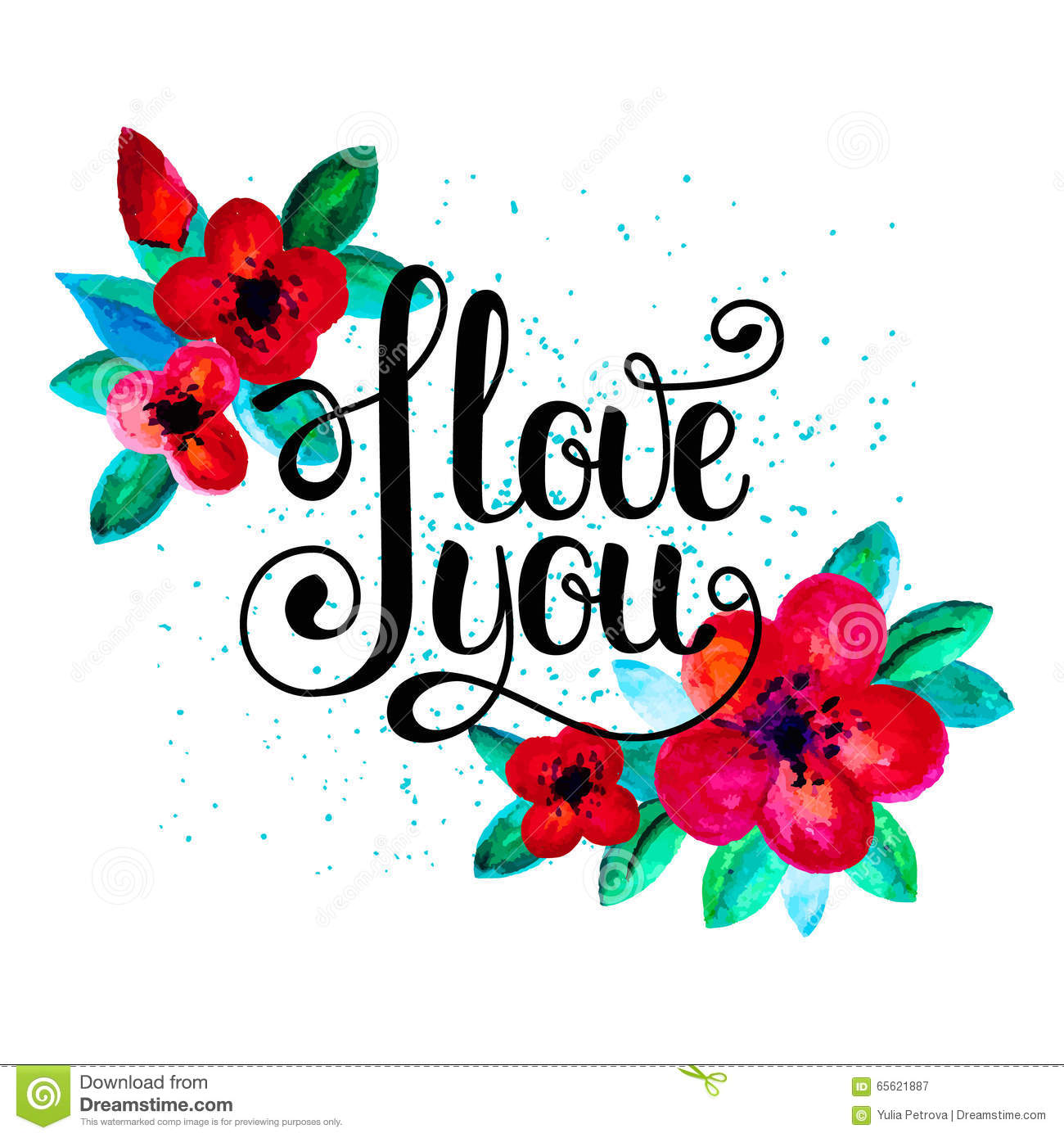 i love you hand written lettering with red flowers stock vector illustration of calligraphy