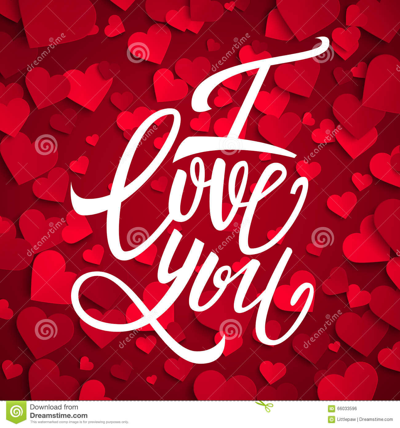 I love you handwritten brush pen lettering on red hearts background, Valentine s Day