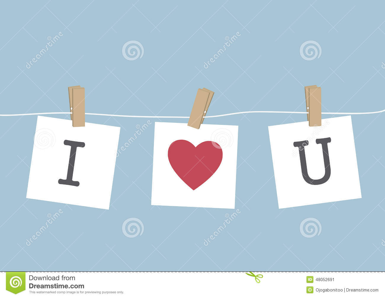 I Love You hanging on wire stock vector. Illustration of cartoon ...