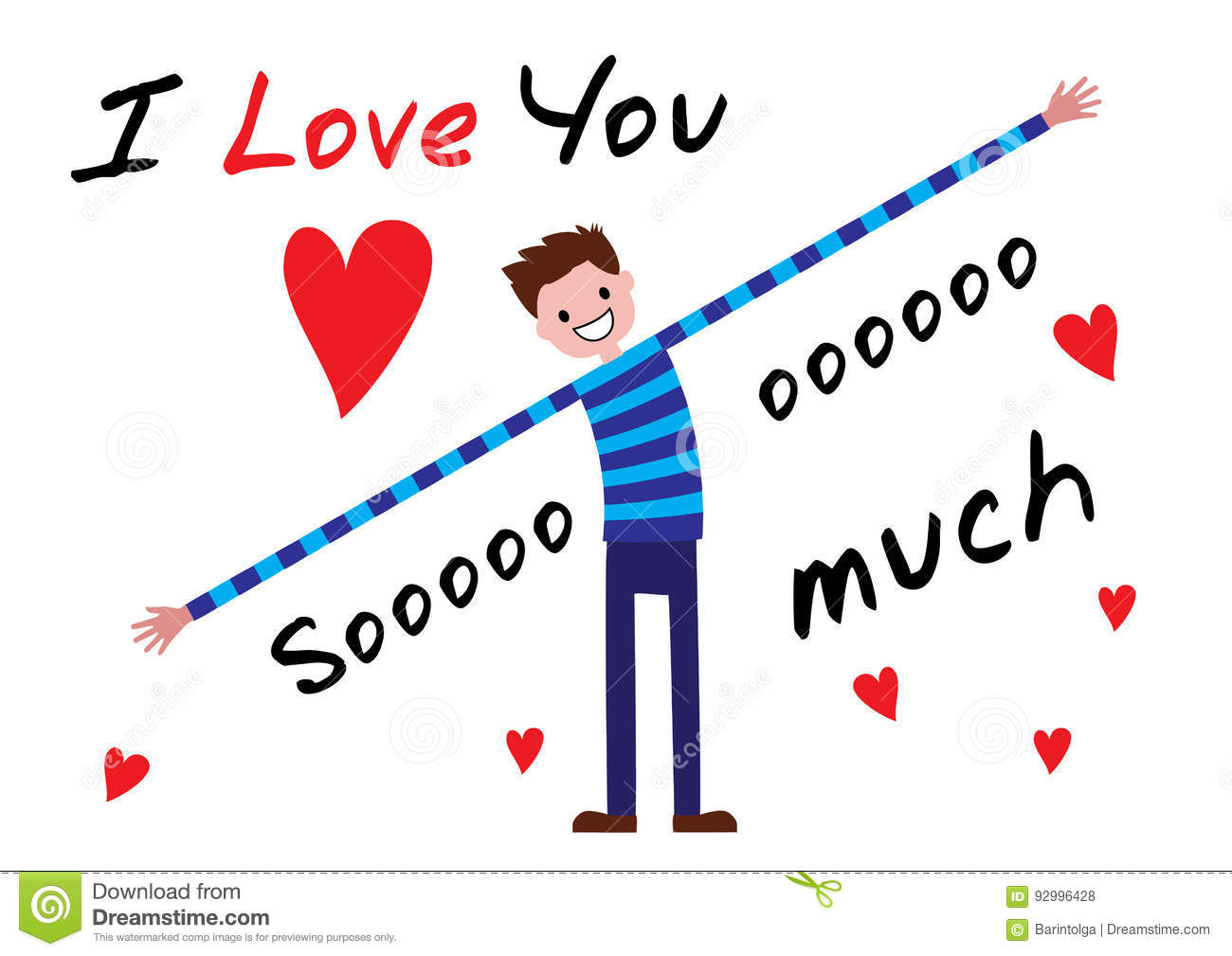 I Love You, I Love You So Much. Stock Vector