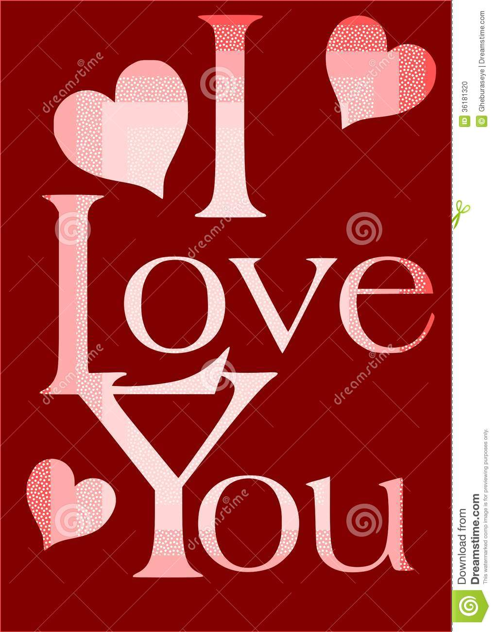 I Love You Greeting Card In Red Stock Photo - Image: 36181320