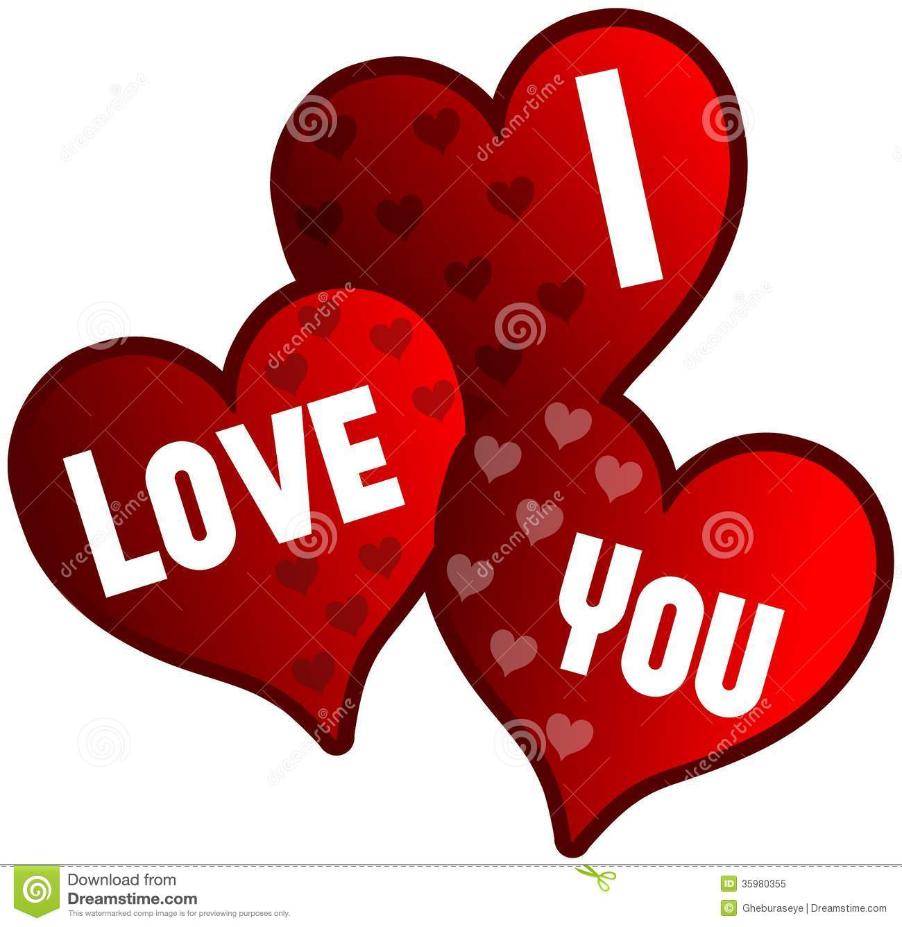 Isolated Hearts With Words I Love You Stock Image - Image ...