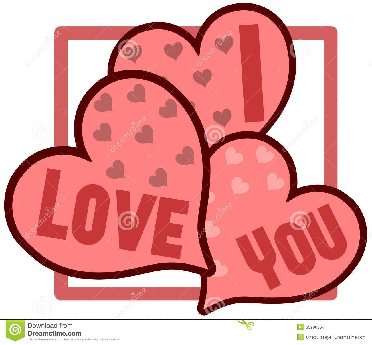 Isolated Hearts With Words I Love You Stock Illustration