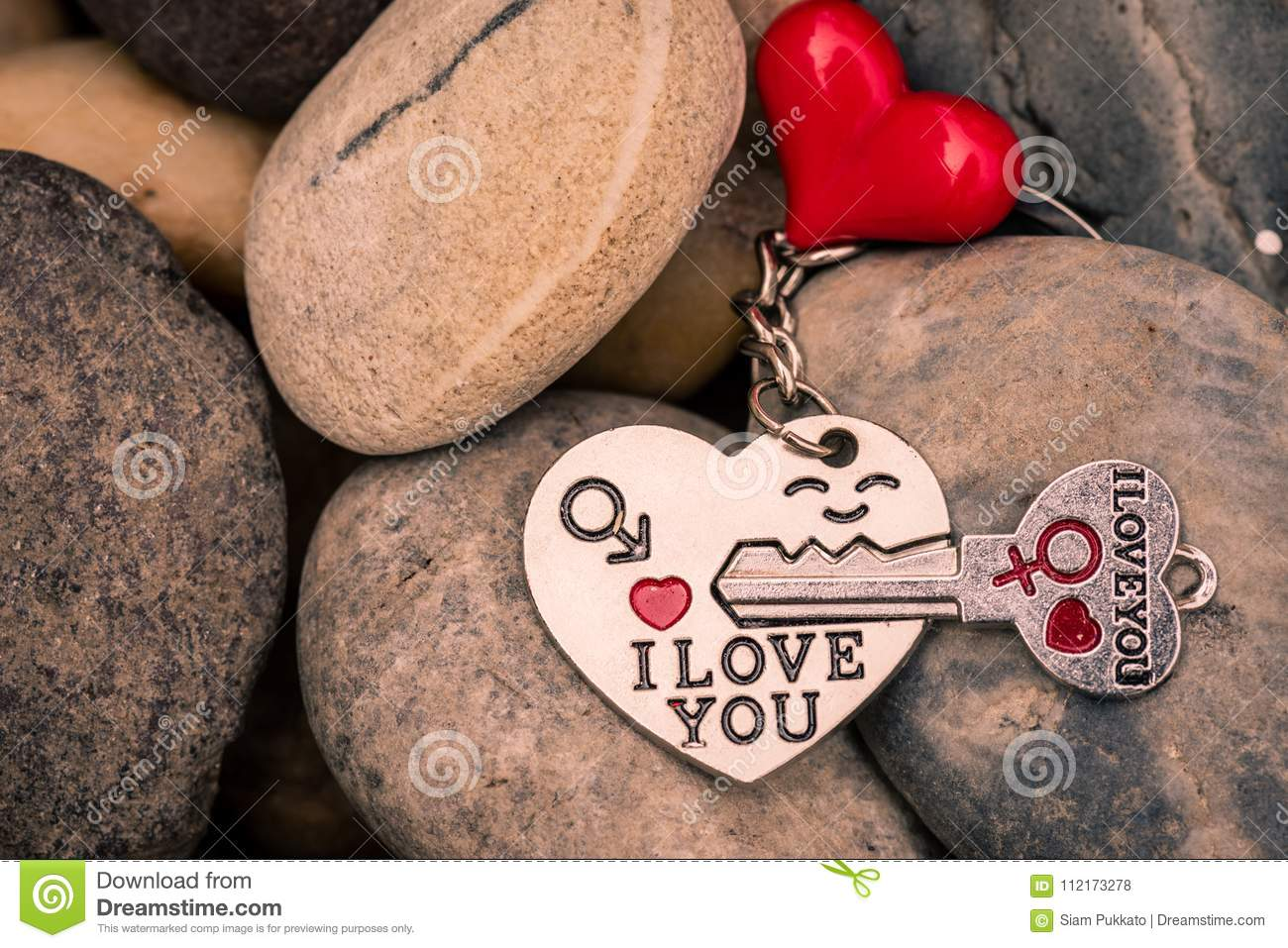 I love you Key chains in heart shaped with red heart on Stones,