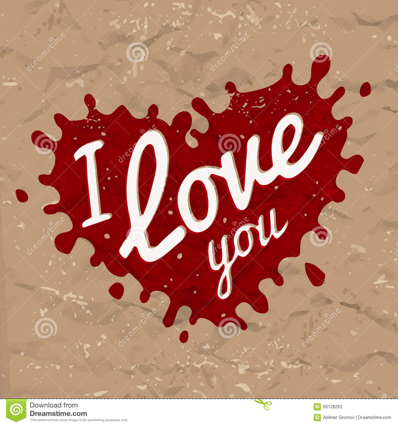I Love You Lettering In Splash Vector Design Retro Heart Shape