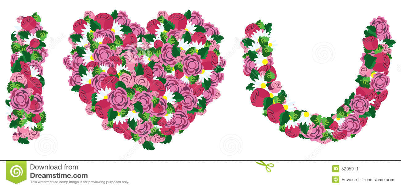I Love You Made From Heart And Flower Stock Vector Illustration Of