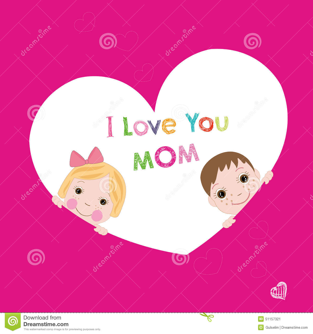 I love you mom with children mothers day greeting card stock vector i love you mom with children mother s day greeting card kristyandbryce Gallery