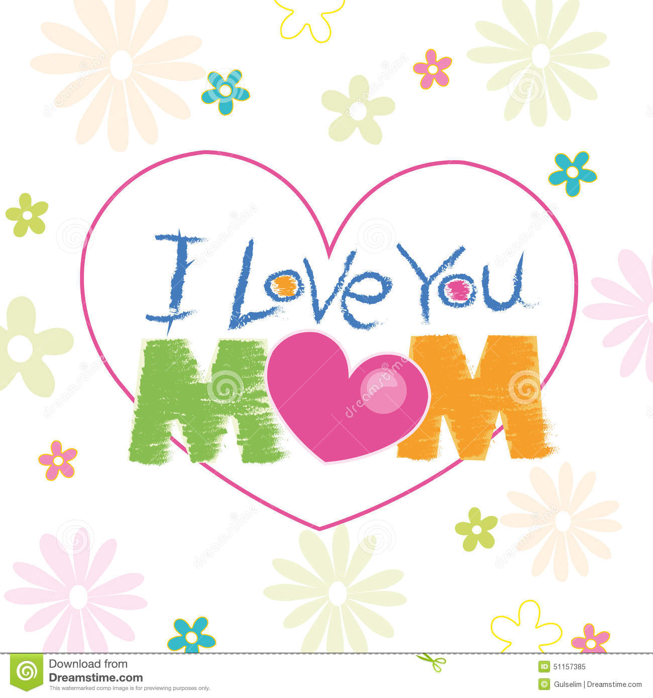 I Love You Mom Doodle With Flowers Greeting Card Illustration