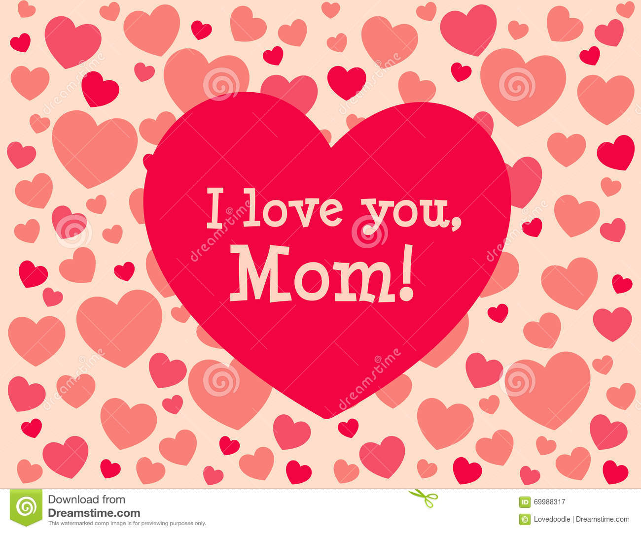 I Love You Mom Mothers Day Greeting Card Stock Illustration