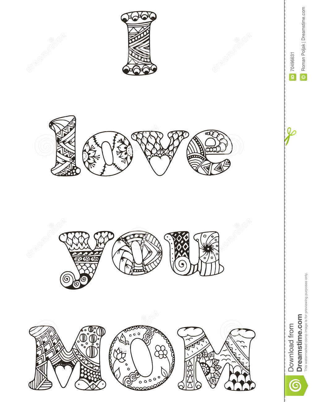 I Love You Mom Quotes I Love You Mom Quotezentangle Stylized Vector Illustration